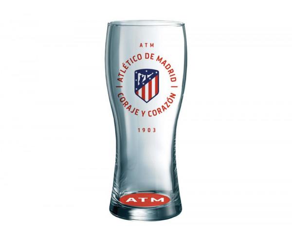 Vaso grande cerveza Atlético de Madrid Coraje y corazón