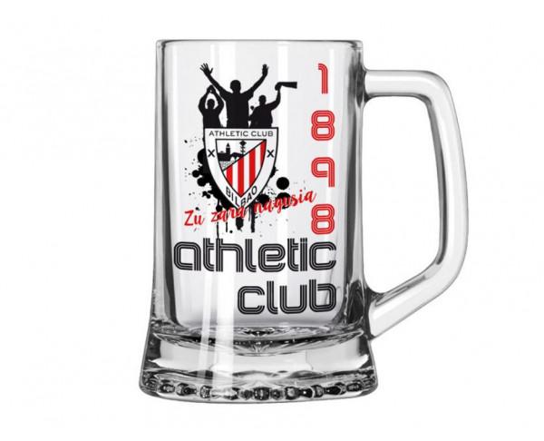 Jarra de cristal para cerveza Athletic Club Bilbao 1898