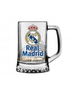 Jarra grande de cristal para cerveza del Real Madrid