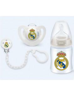 Set Chupete cadena portachupete y biberón Real Madrid