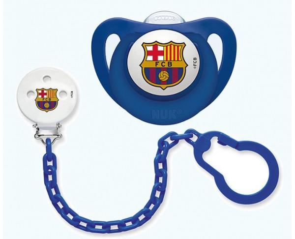 Cadena portachupetes y chupete azul para bebé FC Barcelona