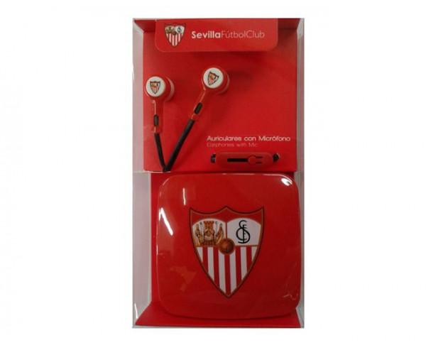 Auriculares botón micro y caja auriculares Sevilla FC