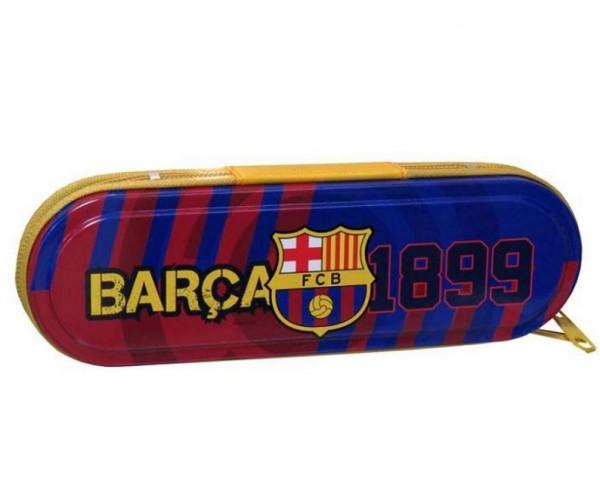 Estuche metálico del FC Barcelona con cierre de cremallera