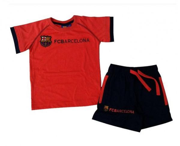 Pijama naranja de verano FC Barcelona infantil