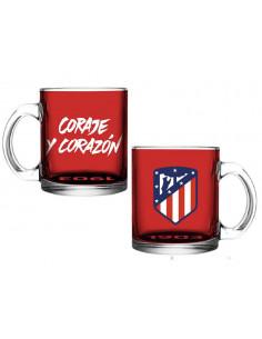 Taza de cristal Coraje y Corazón Atlético de Madrid