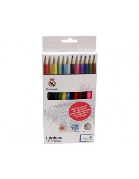 Caja con 12 pinturas de colores Real Madrid