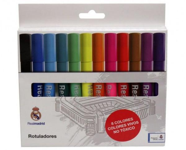 Caja con 12 rotuladores de trazo grueso Real Madrid