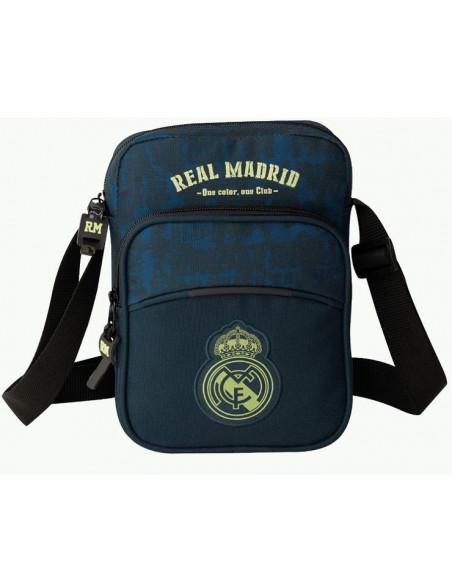 Bolsa bandolera azul Real Madrid con tres departamentos