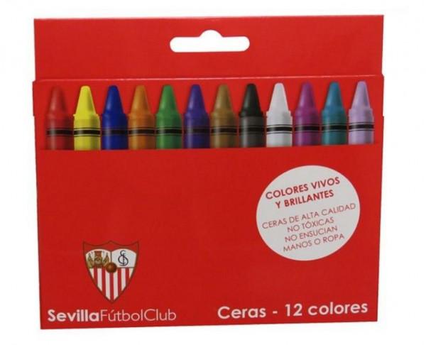 Caja con 12 ceras de colores escolares Sevilla FC