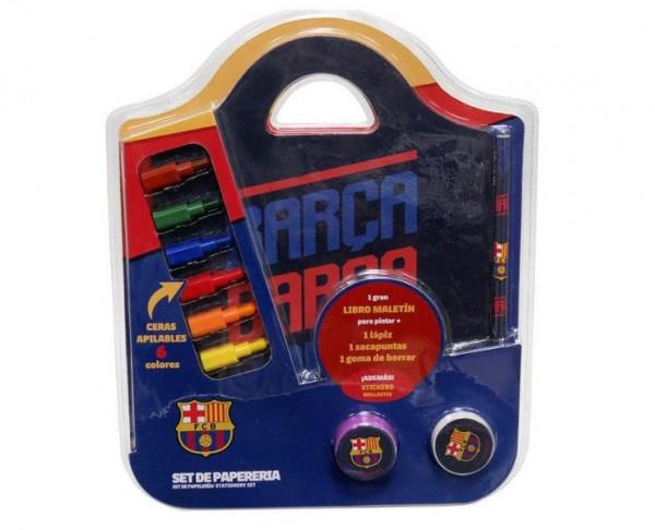 Conjunto de papeleria tipo maletin con accesorios FC Barcelona