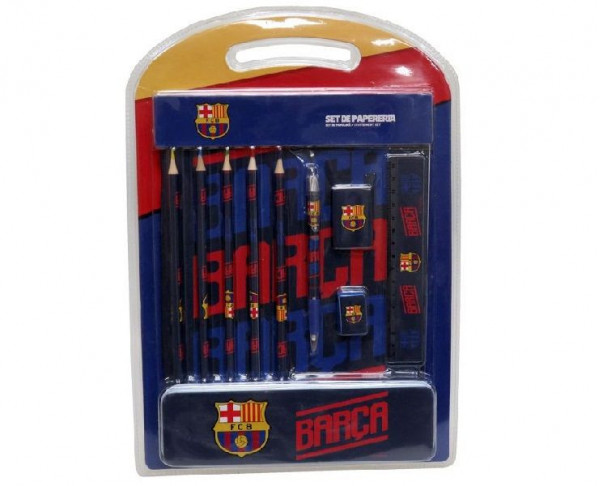 Pack material escolar FC Barcelona con estuche metálico