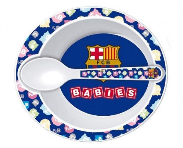 Cuenco y cuchara de melamina bebé FC Barcelona