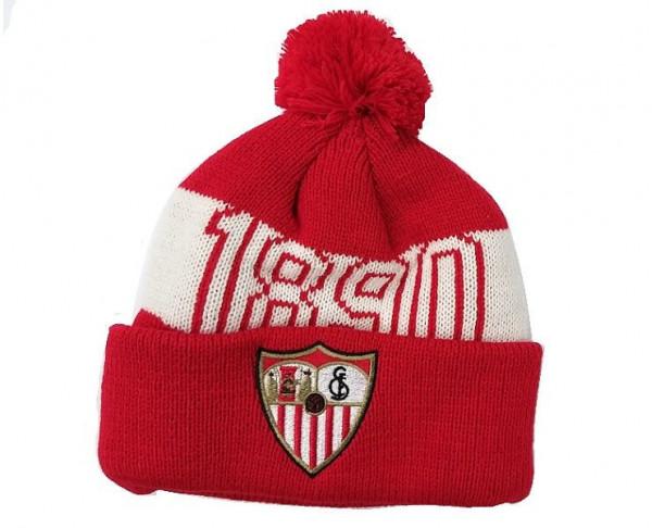 Gorro de lana con borla Sevilla FC juvenil y adulto