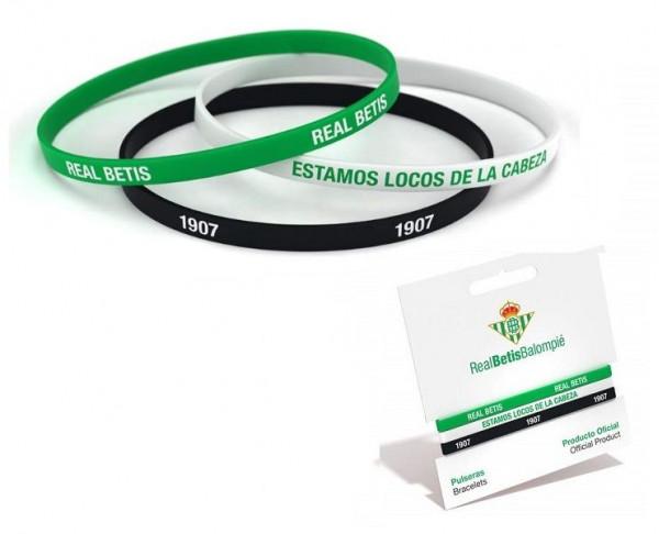 Pack tres pulseras de silicona Real Betis Balompié adulto