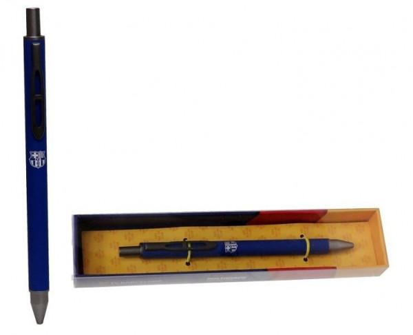 Bolígrafo metálico azul FC Barcelona en caja de regalo
