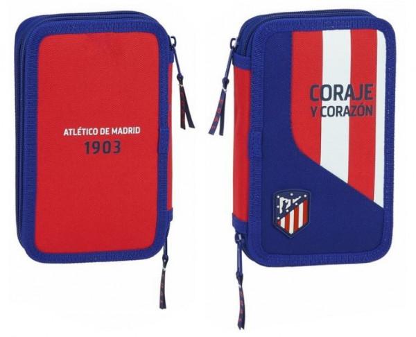 Estuche Atlético de Madrid dos pisos 28 piezas escolares