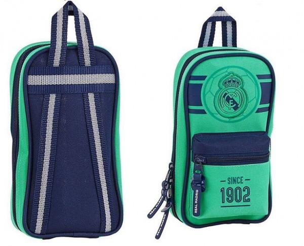 Mini mochila con cuatro estuches escolares Real Madrid
