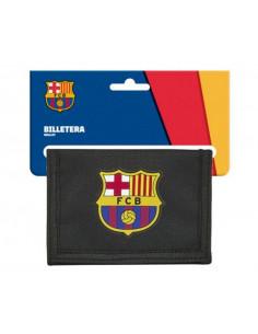 Billetero con monedero FC Barcelona negro y grana