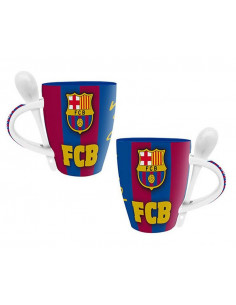 Taza de porcelana del FC Barcelona con cuchara