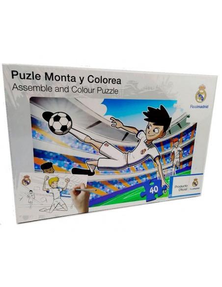 Puzzle 40 piezas para montar y colorear Real Madrid