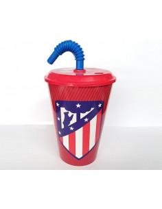 Vaso con caña para beber infantil Atlético de Madrid
