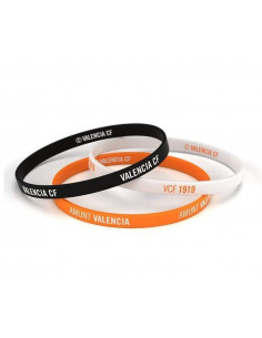 Pack tres pulseras Valencia CF tricolor Junior