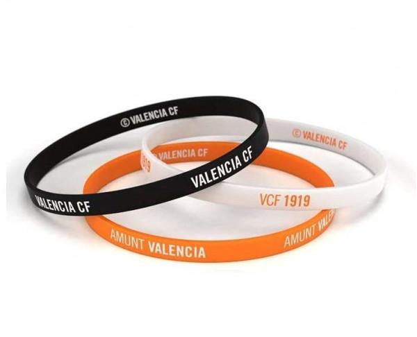 Pack tres pulseras Valencia CF tricolor Junior