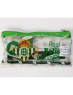 Portatodo transparente  y cuatro piezas escolares Real Betis