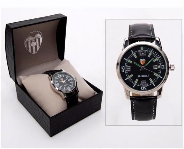 Reloj de pulsera Valencia CF caballero negro con calendario