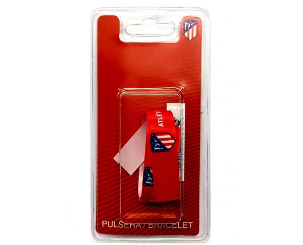 Pulsera de tela roja con escudos...