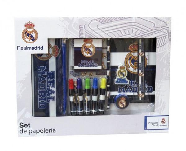 Caja de regalo Real Madrid con 20 accesorios escolares