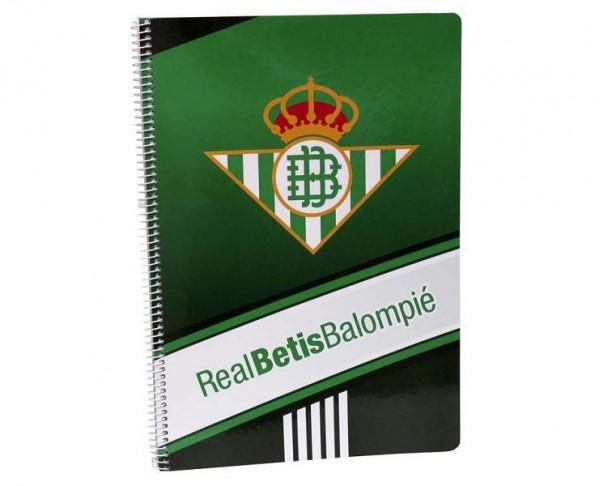Cuaderno Real Betis tamaño folio y pastas duras
