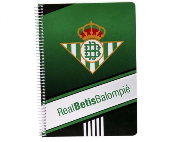 Cuaderno Real Betis tamaño cuarto y pastas duras