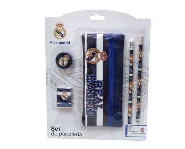Conjunto escolar Real Madrid  con accesorios y estuche