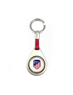 Llavero ovalado Atlético de Madrid cuero rojo