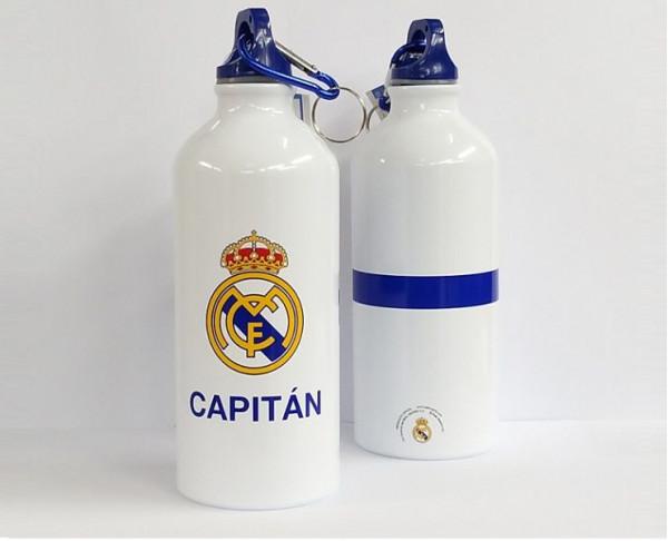 Botella Real Madrid de aluminio cierre con argolla